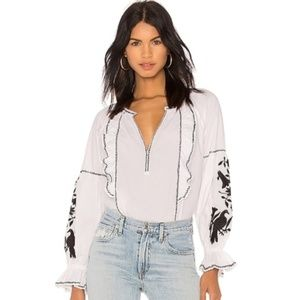 NWT Joie Cleavanta Embroidered Peasant Blouse sz S